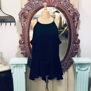 Ashley Stewart Black Blouse with Lace Sides